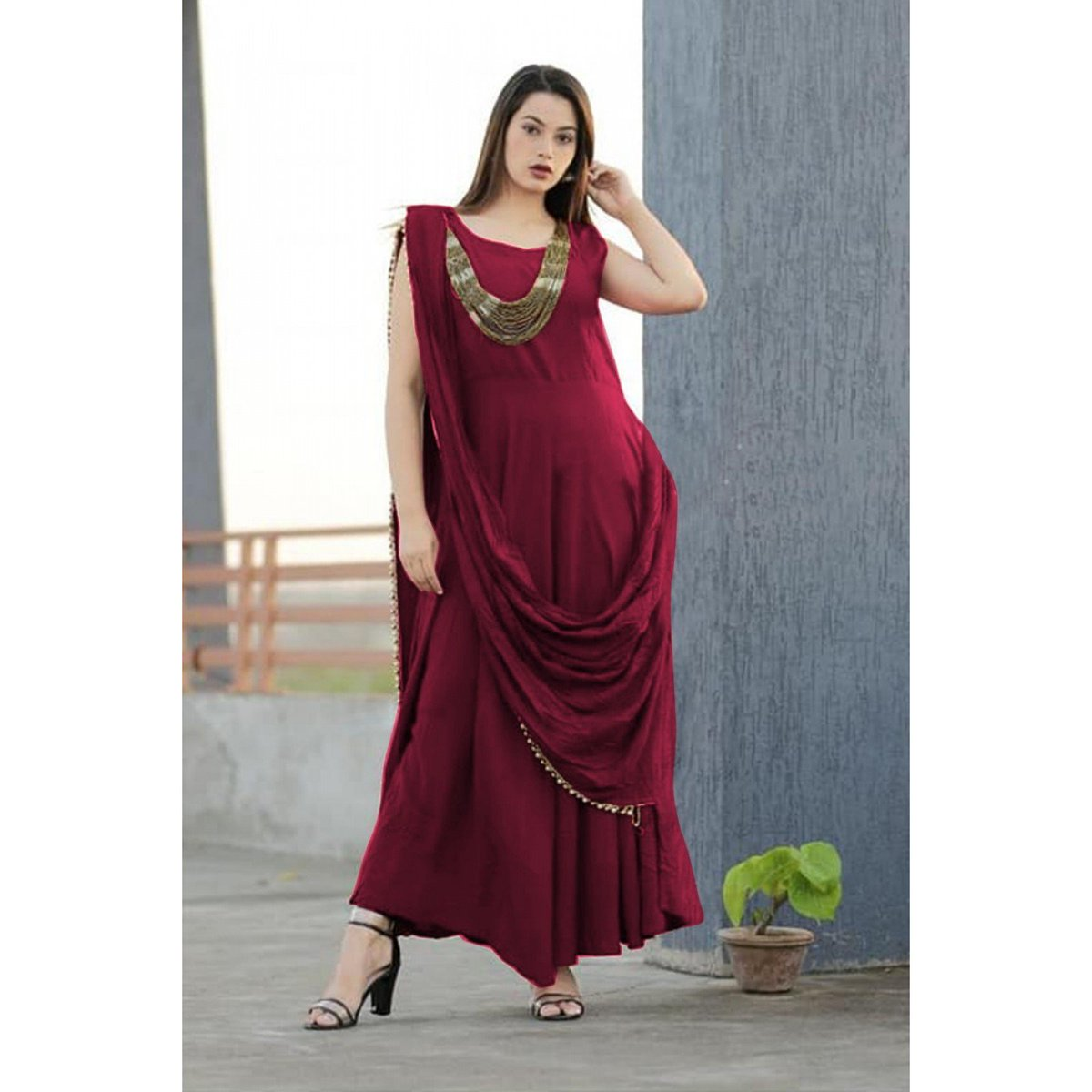b72960332b9 Shop style wine color indo western gown at ₹1