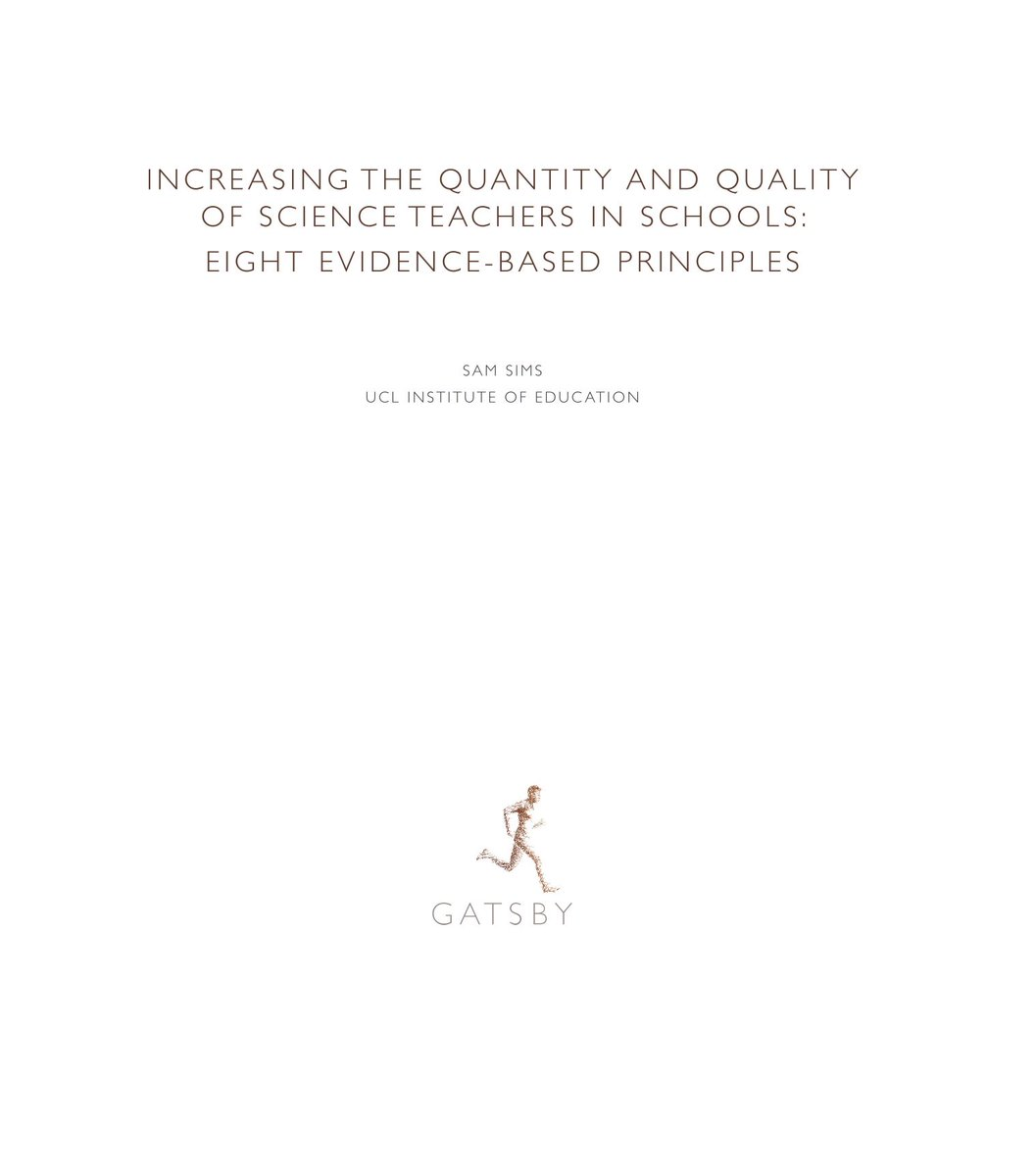The shortage of science teachers in England is large, and getting worse.  I was approached by @GatsbyEd to review the evidence on what schools can do to increase their teaching capacity - both quantity & quality.  Thread on what we discovered 👇