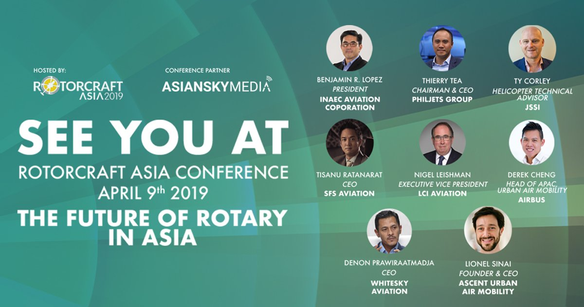 New speakers have been announced! Gain insights into the future of rotary at the #RotorcraftAsia2019 Conference, check out the updated speakers line-up: https://t.co/h9FSb52T7M  #GearUpForLiftOff https://t.co/x0AEKYT4GL