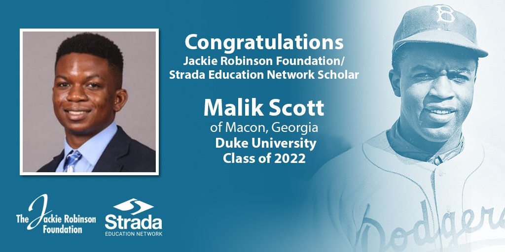 "Strada Education Network @JRFoundation scholar Malik Scott is one of our new #JRFscholars from the Class of 2022: He is majoring in biochemistry at @DukeU.  He's worked to alleviate social stigmas through community activism by founding ""Be the Change."""