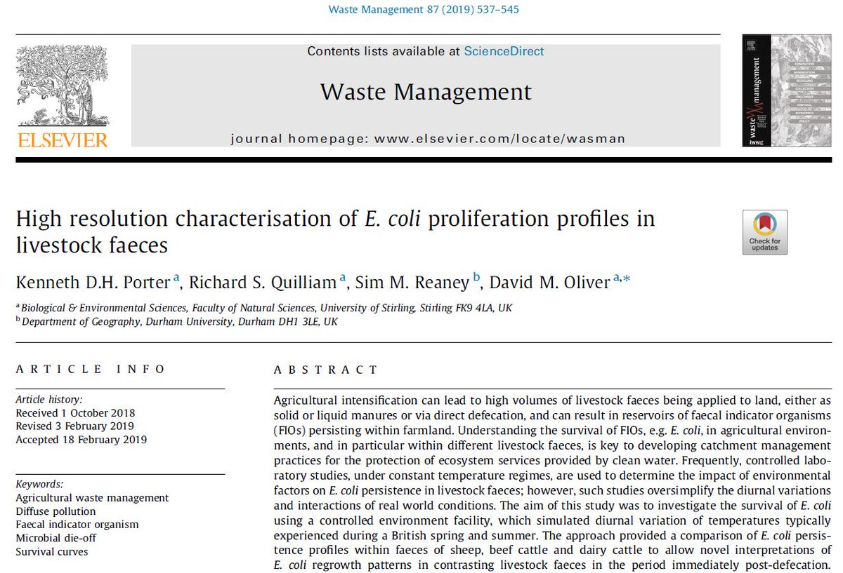 New @eshh_stir paper from K Porter's @IapetusDTP thesis: #Ecoli regrowth in livestock faeces & implications for agricultural #RiskAssessment - Open Access via Elsevier #WasteManagement journal https://bit.ly/2Tycz9u  #SurvivalCurves @StirBES