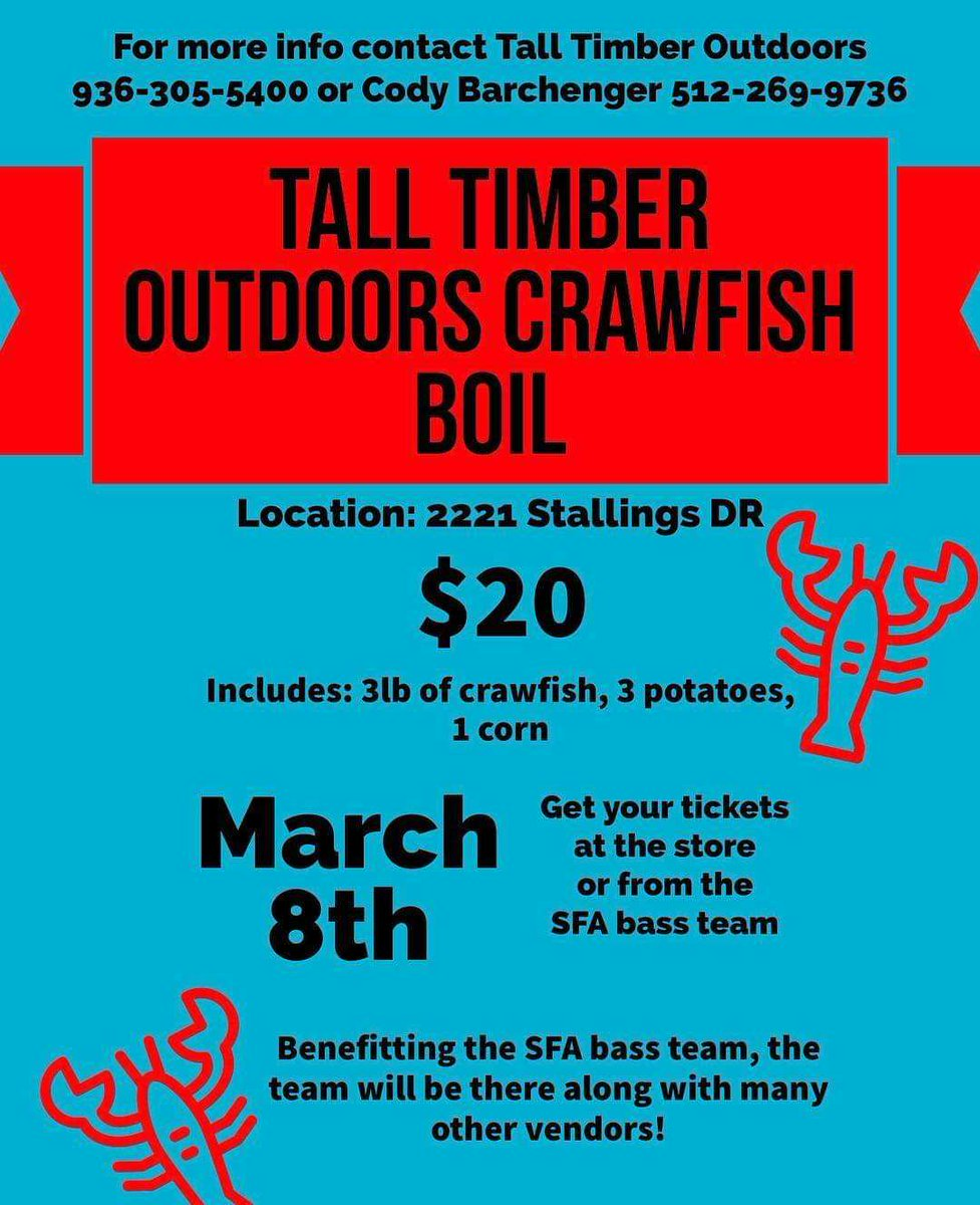 Get your fill of mud bugs while also supporting the SFA Bass Team! That's what we call a win-win situation! Boil begins at 3p.m. and lasts until sell out. #Crawfish #ATCOFA