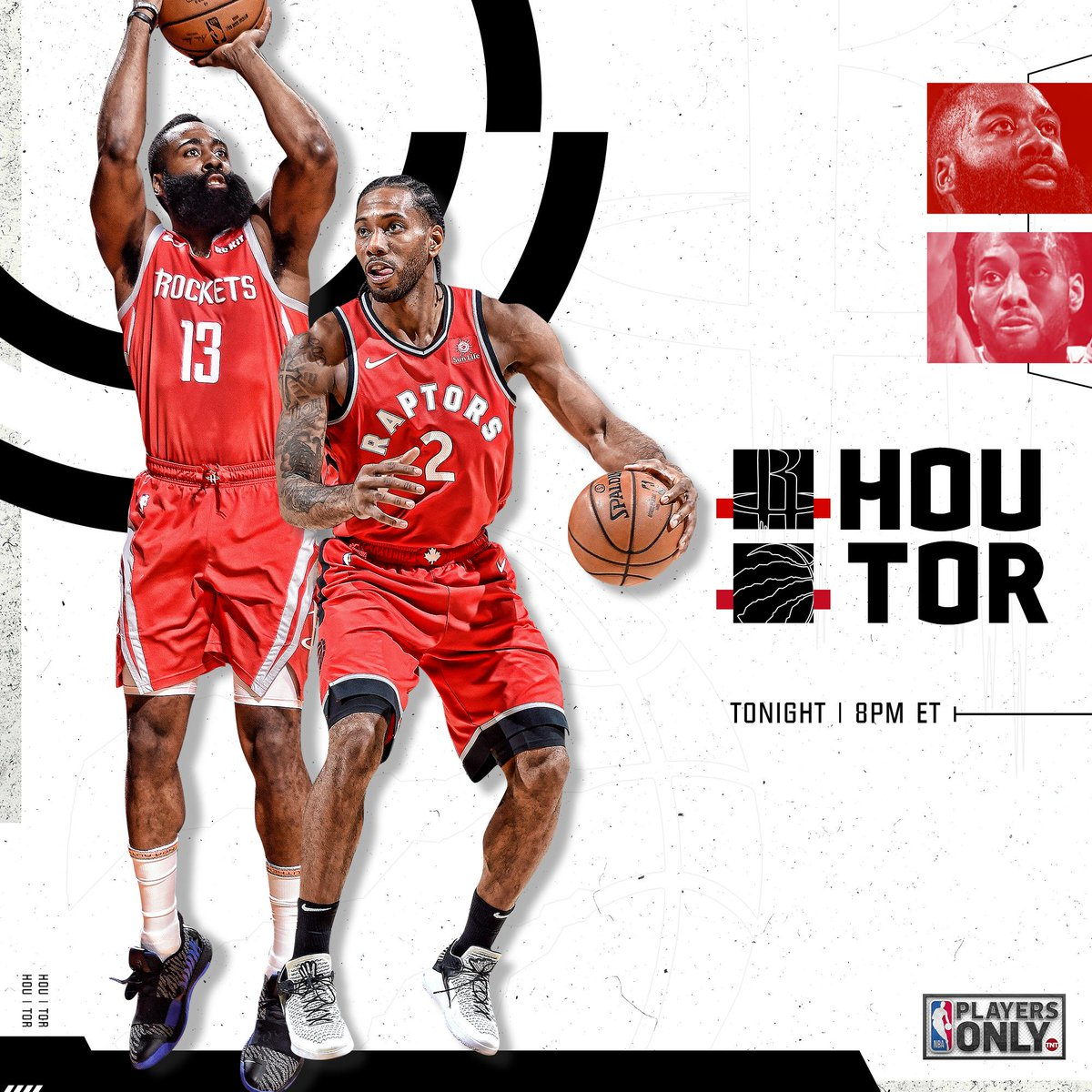 We've got a fun night of hoops in store tonight on TNT! #PlayersOnly   @HoustonRockets vs. @Raptors // 8pm ET @celtics vs. @warriors // 10:30pm ET