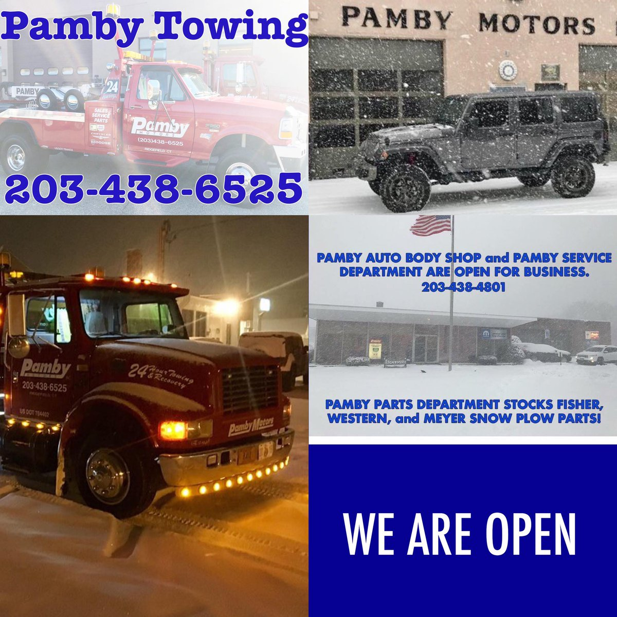 From plow parts and towing to gasoline and vehicle repair - we are here for you. #PambyMotors #PambyZone #PambyRidgefield #PambyJeep #Jeep #RAMTrucks #Dodge ...