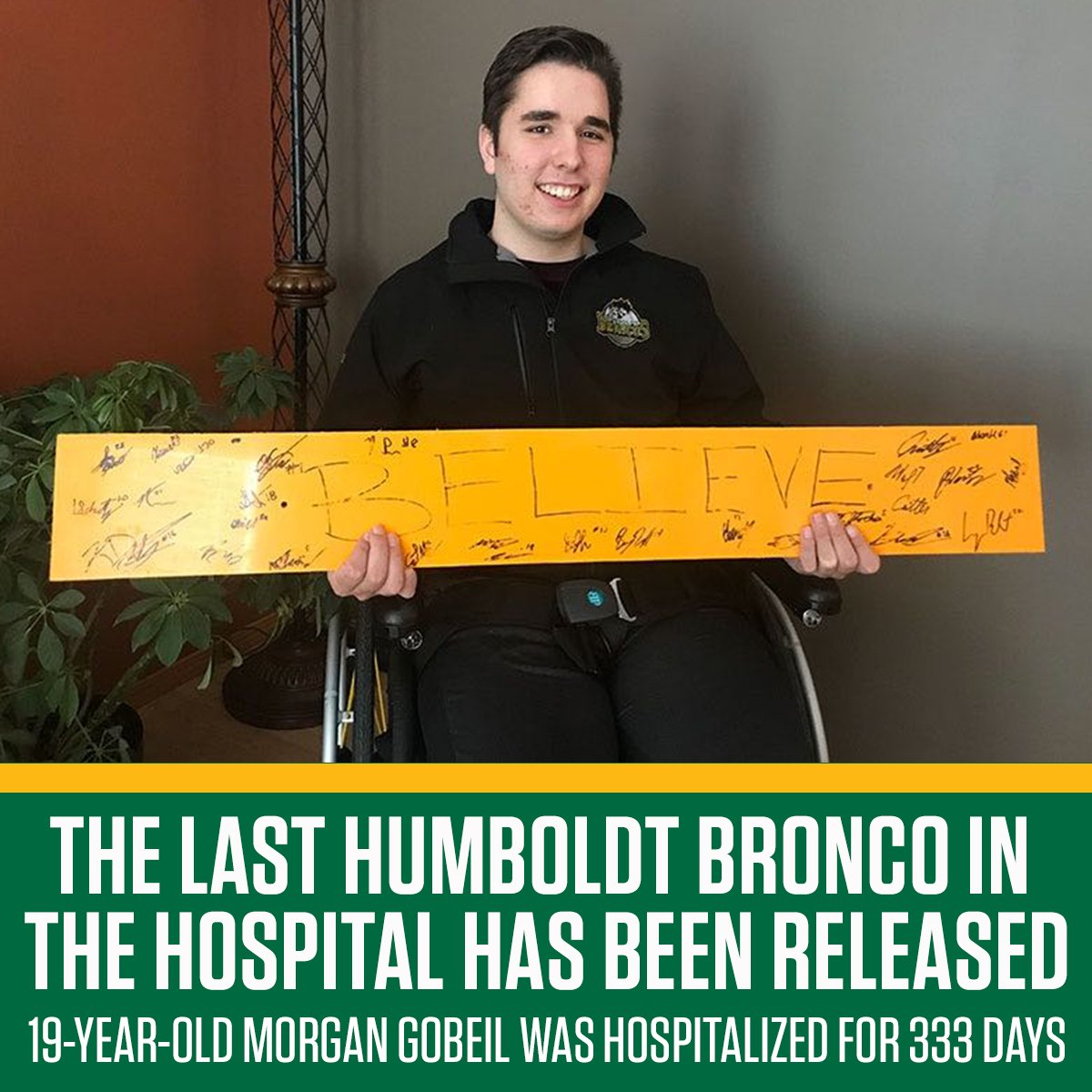 Almost a year after the accident, the last Humboldt Bronco, Morgan Gobeil, is finally going home. 🙏💛💚 https://t.co/BTt8PtBbE0