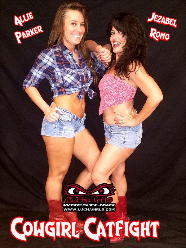 ... at @LuchaGirls ~ 1526-#Cowgirl #Catfight feat @JezabelRomo vs  @theeallieparker https://luchagirls.com/hey-yall-1526-cowgirl-catfight- female-wrestling/ …