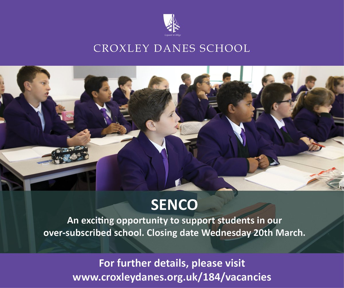 Fantastic opportunity to join this new, over-subscribed school in South West Herts as SENCO from September. Closing date: 20th March. Details: https://t.co/qNZbLV8tVL #teachingvacancyuk #teachingjobs #SENCOCHAT https://t.co/N7VGtYB4ZA