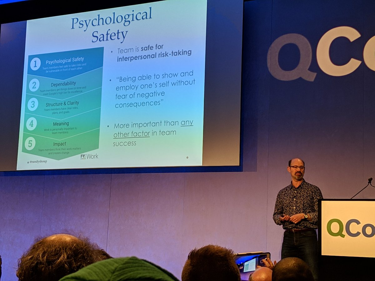Psychological safety is the number one indicator of high performing teams, not number PhDs etc. We can only do our best in a culture of mutual trust and respect. @randyshoup #QConLondon