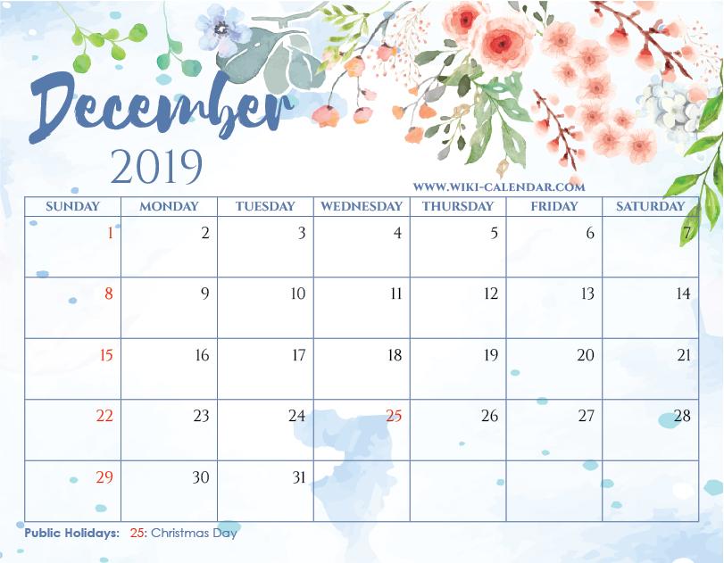 graphic relating to December Printable Calendar Free named CalendarWiki No cost Printable December 2019 Floral Calendar