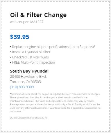We Have A Coupon On Offer For An Oil And Filter Change At South Bay Hyundai If You Need One Visit Our Website Details Https Bit Ly 2hh0goi