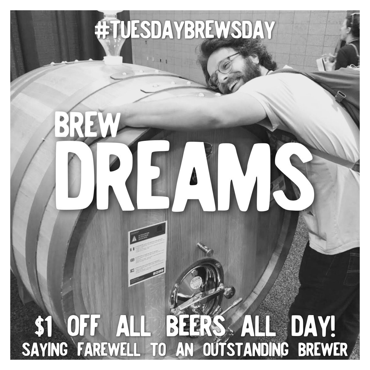 It's a sad day here at Pitt Street. Our head brewer Nate is moving on to accomplish his dreams. We are celebrating him today with $1 off all beers and a #tuesdaybrewsday release! The Royster Stout brewed with farm raised oysters, Tabasco, lemon juice and cayenne pepper!