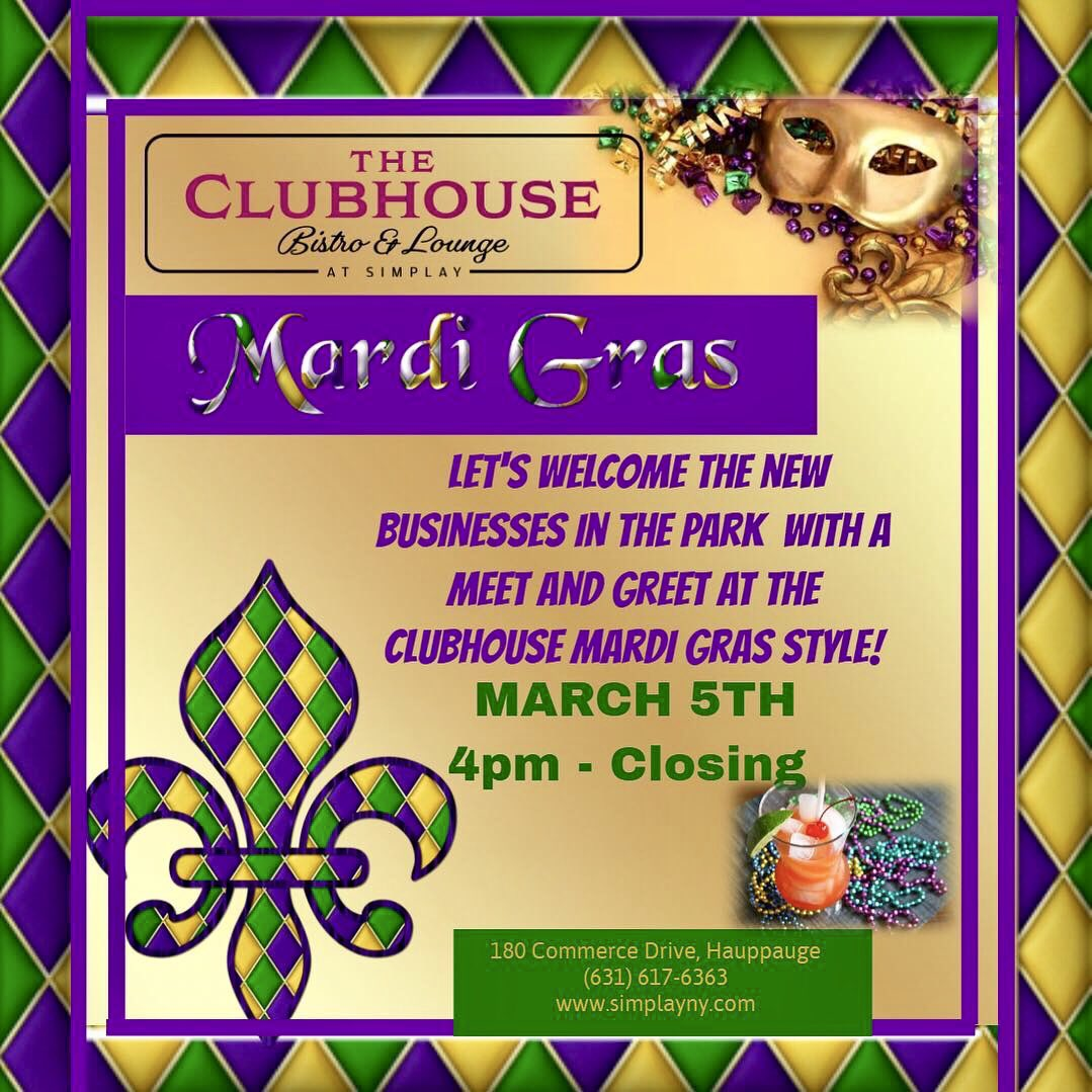 All Are Welcome!  Come Celebrate Mardi Gras @ the Clubhouse Bistro and Lounge at Simplay. Meet the new companies in the Hauppauge Industrial Park. #Simplay #theclubhouse #ClubhouseBistroAndLounge #mardigras #mardigras2019 #hurricanecocktails #celebrate #businessnetworking #hia