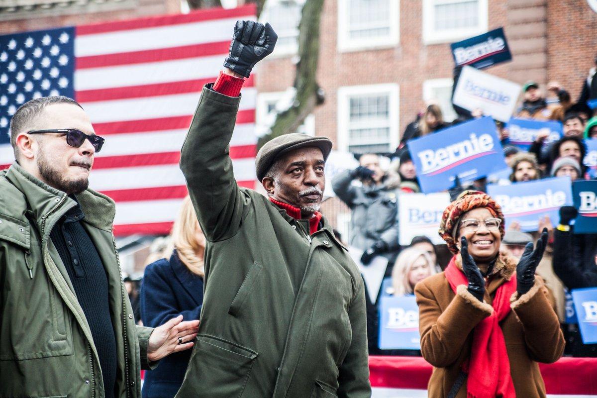 South Carolina Representative @_terryalexander and @shaunking listening to @BernieSanders in Brooklyn this weekend