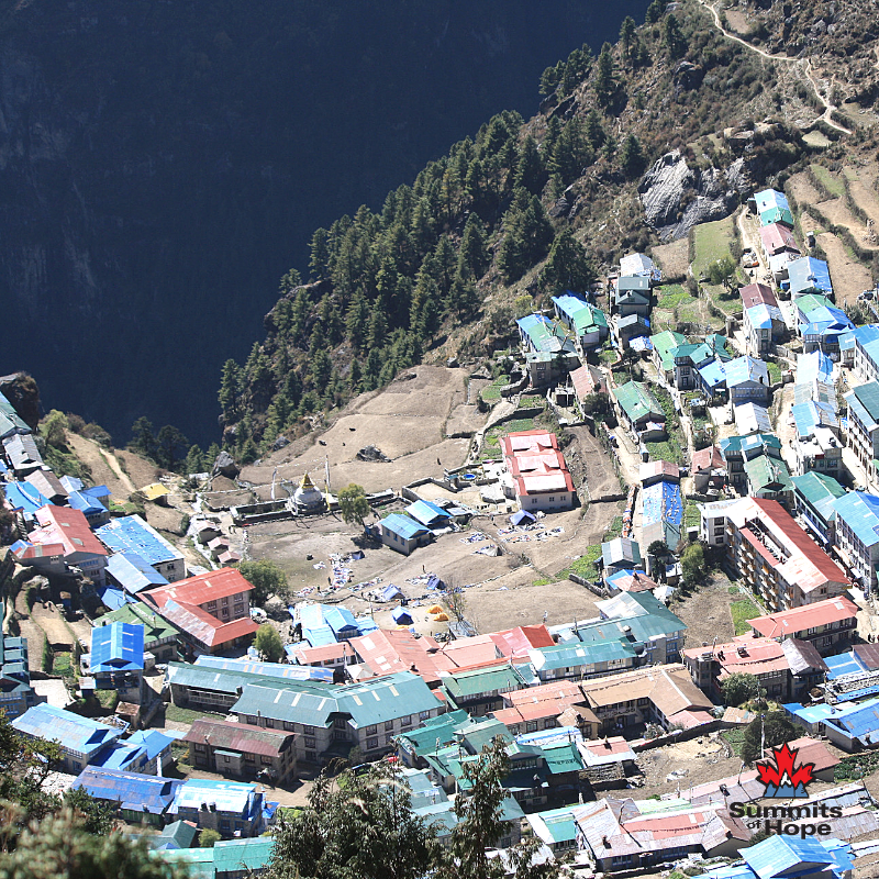 🏔NAMCHE BAZAAR 🏔  This market town offers amazing views of the mountain peaks throughout the valley and is a staging point for our #EverestBaseCamp climb.   Learn more about #SummitsofHope on March 9th: https://www.showpass.com/3rd-annual-party-for-the-peaks/ …  #TravelTuesday #adventuretravel #tripofalifetime