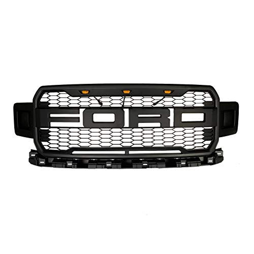 Front Grille Fits 2018 2019 Ford F150 Raptor Style Grille For Ford F150 with Conversion Letter Gray