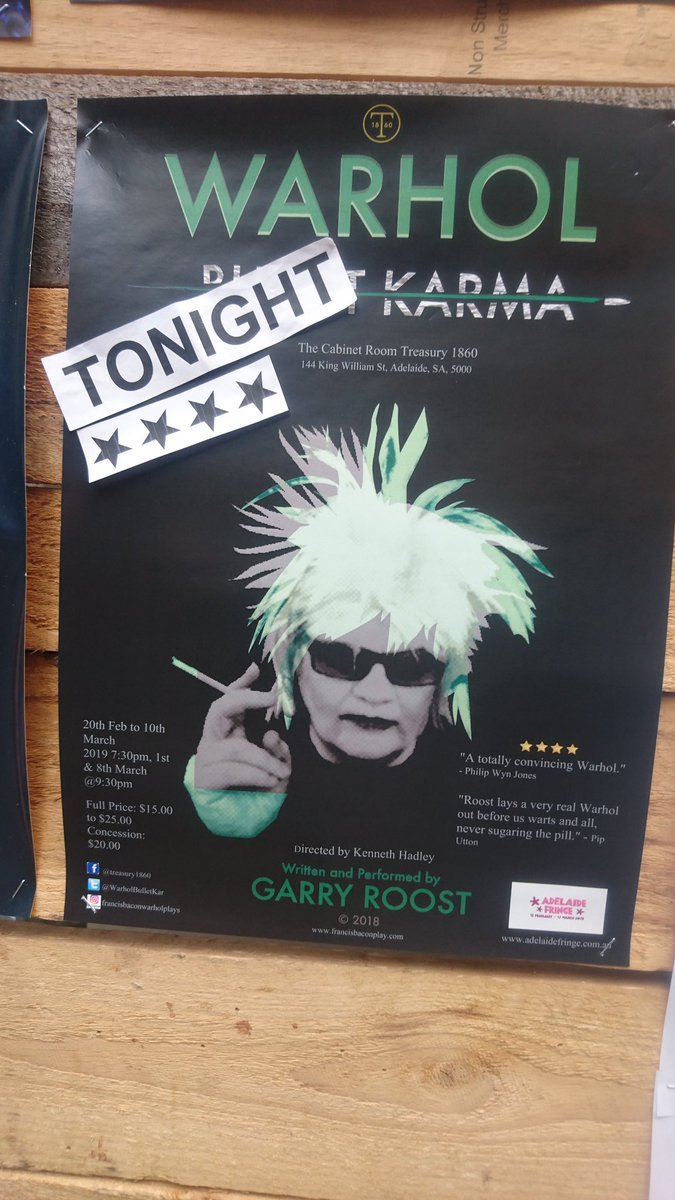 """🌟 🌟 🌟 🌟 1/2 TONIGHT at #Treasury1860 7:30pm @ADLfringe """"If you like theatre in a literary key, you'll enjoy Roost's 60 minutes of fame."""" -Steve Davies The Adelaide Show Pod  #Adelaidefringe #Warhol #Theatre #WarholBulletkarma   https://t.co/AJ2bHQFTTG https://t.co/1bUcr3RKa6"""