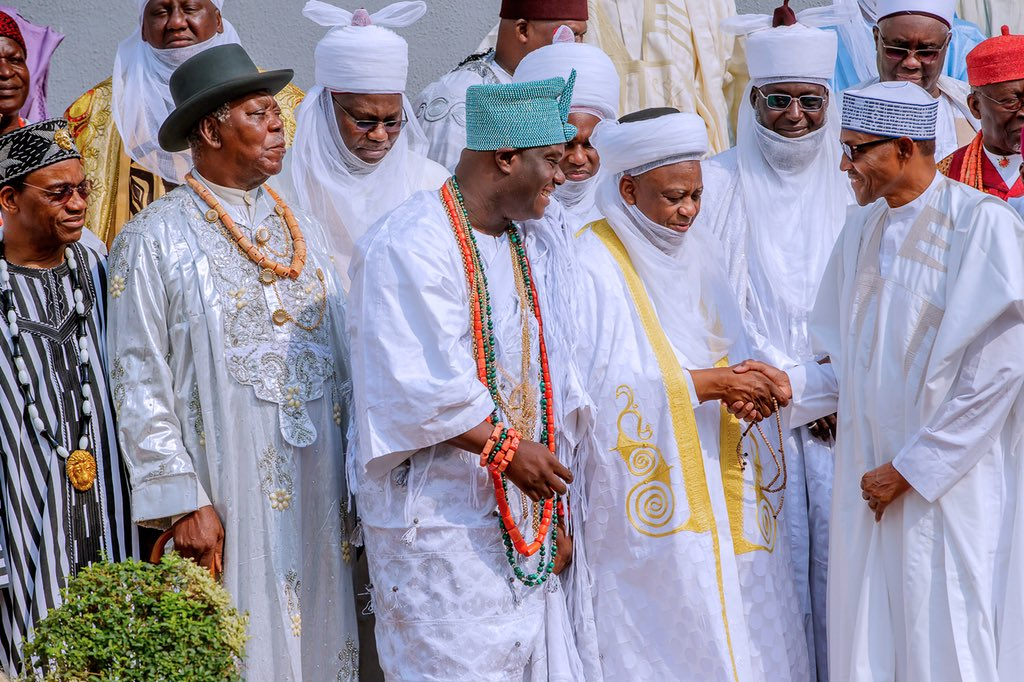 Today I received members of the National Council of Traditional Rulers,  led by the Sultan of Sokoto, Alhaji Muhammad Sa'ad Abubakar III, and the Ooni of Ife, Oba Adeyeye Ogunwusi Ojaja II, on a congratulatory visit. I was pleased to welcome them all to the Next Level.