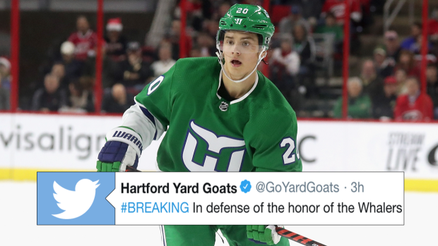 the hartford yard goats fired a shot at the hurricanes for wearing the  whalers jersey more ea30cad81