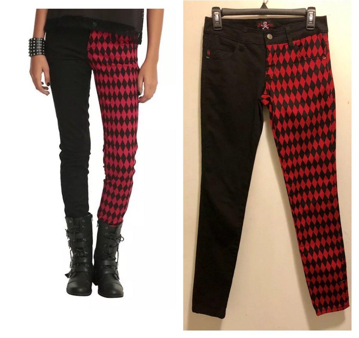 ee3740a9aba7 New Royal Bones Red & Black Split Leg Diamond Pattern Skinny Jeans Adult  Size 1.pic.twitter.com/mW1nw3joJJ