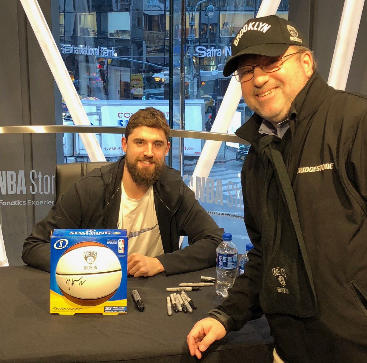 Today @BrooklynNets star and recently crowned @NBAAllStar #MtnDew3PT  champion Joe Harris visited the @GCPBID neighborhood at the @NBASTORE. Naturally I asked #JoeyBuckets to sign a basketball. He obliged.  Fun to root for a good guy. #WeGoHard