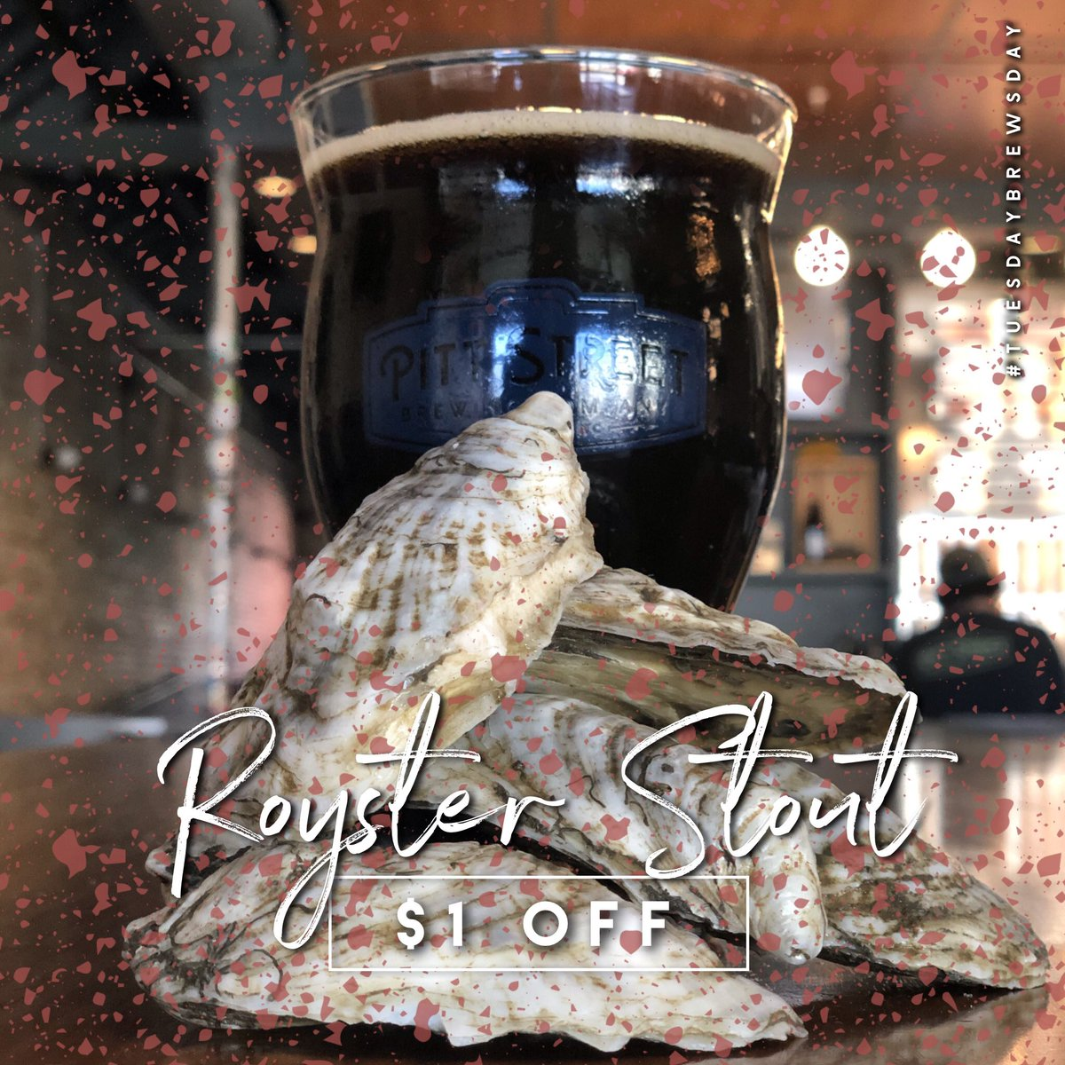 Today is a special #tuesdaybrewsday ! Not only are we releasing the Royster Stout brewed with farm raised oysters, Tabasco, lemon juice and cayenne pepper.. but it's also $1 off! Come celebrate our head brewer and get $1 off any beer and 25% off any canned beer! #roysterstout