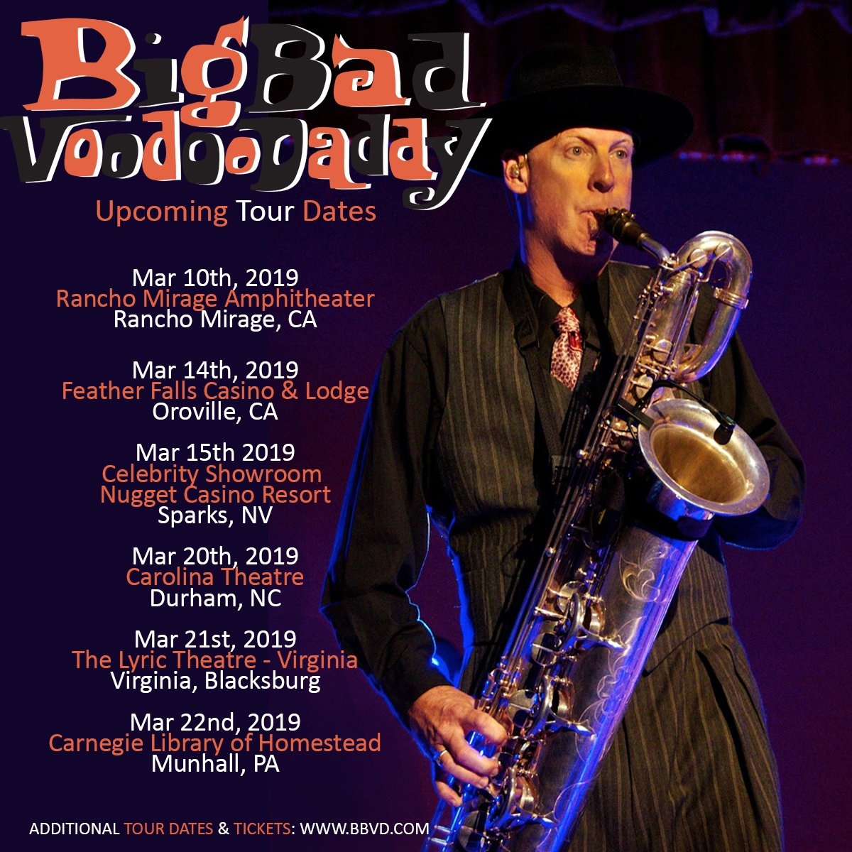 Upcoming @BBVD tour dates!  Get tickets and more information here: http://www.BBVD.com   #swingmusic #bbvdtour2019 #25yearsofbbvd