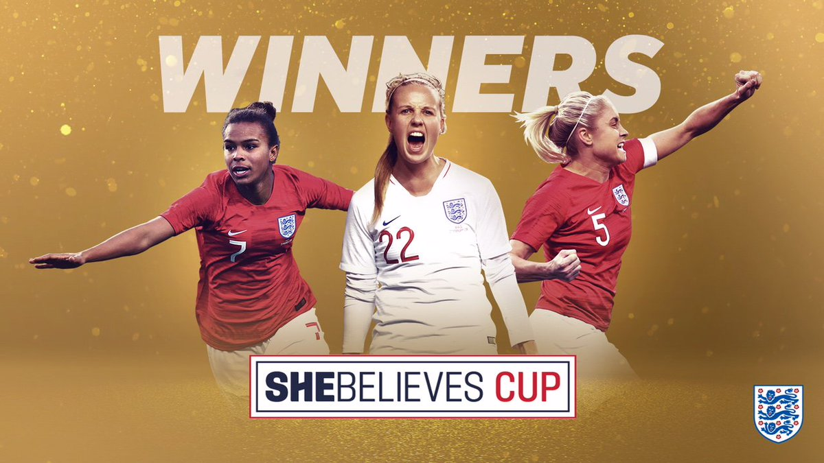 We came here to win.  The 2019 #SheBelievesCup winners: your #Lionesses! 🎉
