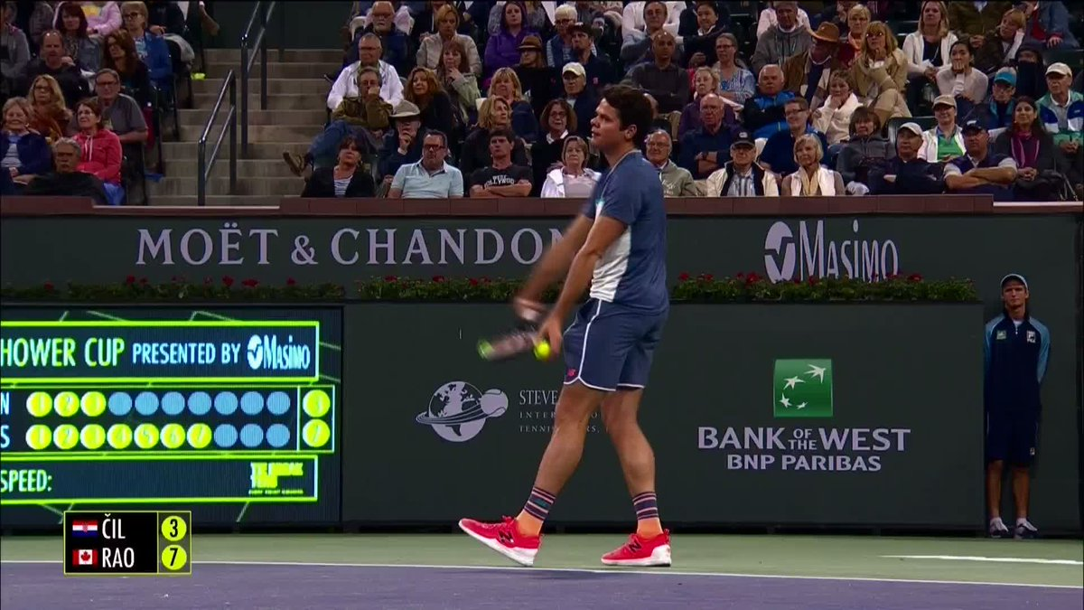 With an 8-3 score, @milosraonic is breezing through this match! #OnFire #TB10 #RafaAndFriends #BNPParibasOpen
