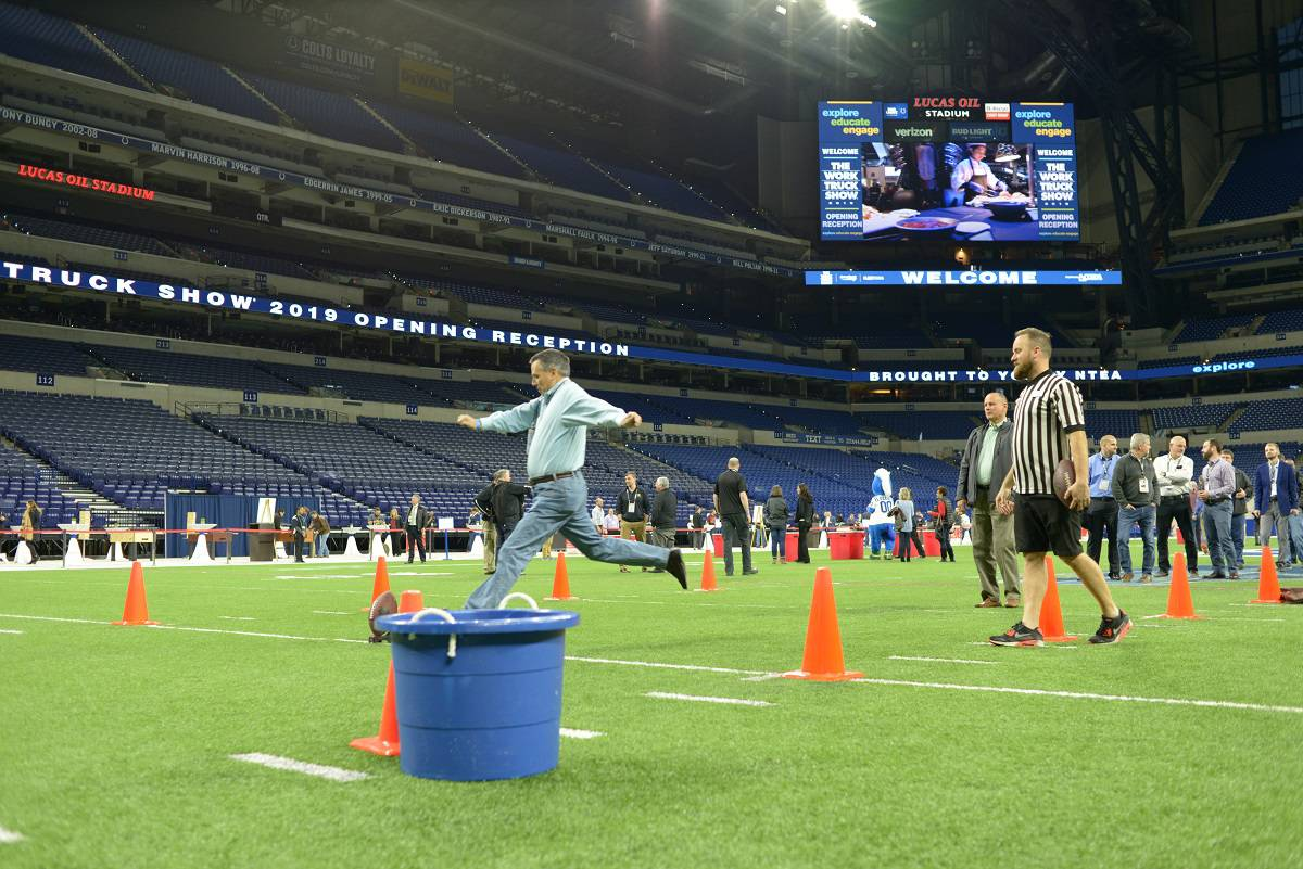 WTS19 Opening Reception attendees enjoy an evening at Lucas Oil Stadium. #worktrucks19 http://worktruckshow.com
