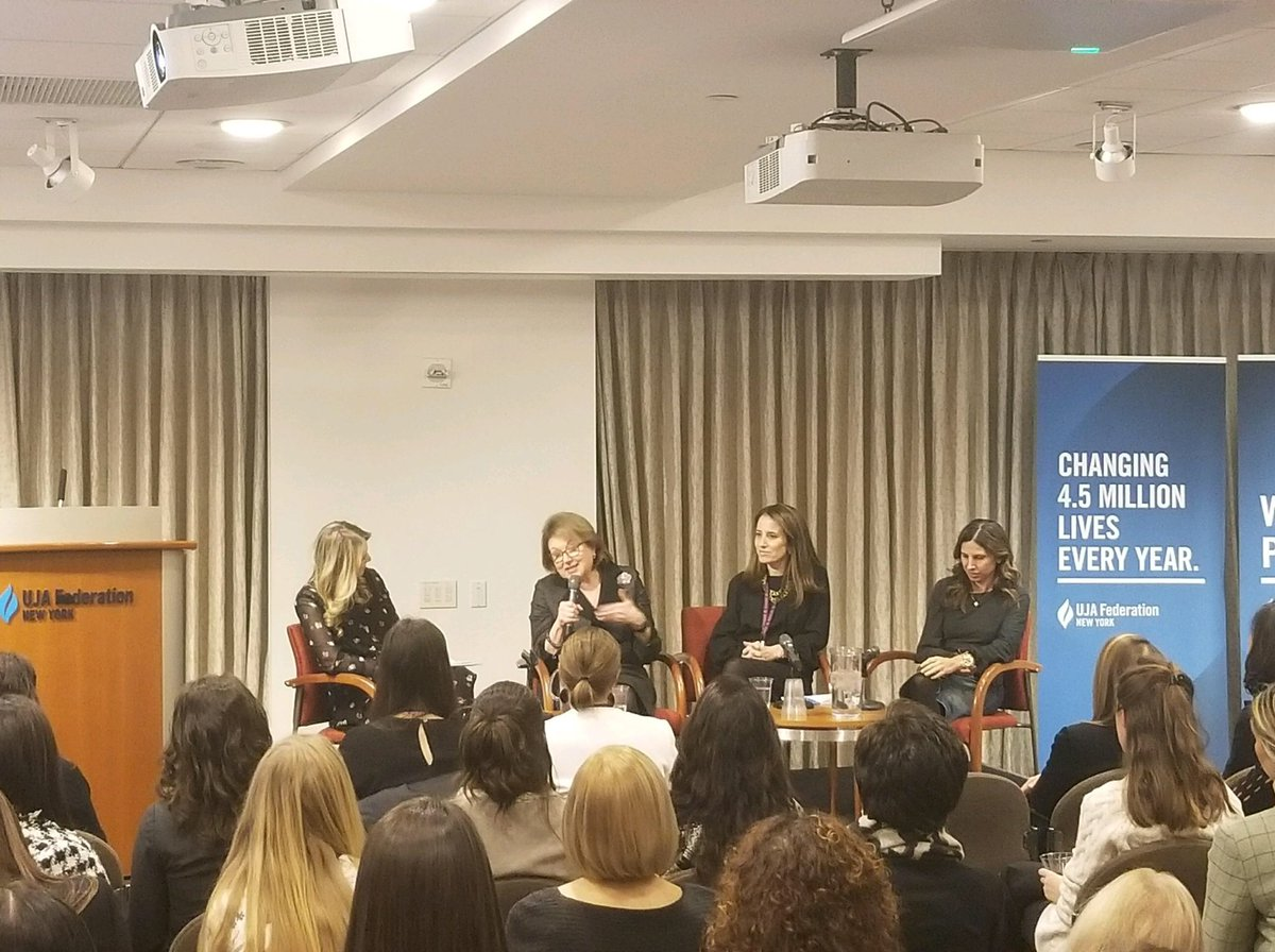Our panel tonight featuring Amanda Freeman of @SLTnyc, Suzanne Peck of @blackrock, & Marjorie Magner of Brysam Global Partners and @Accenture. Moderated by @annaschecter of @NBCNews. #UJAwomen