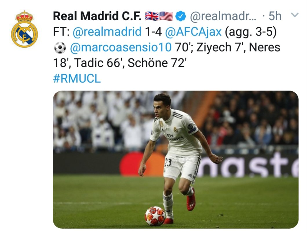 @realmadrid @realmadriden its very painful to see all of these defeats. This is known as Ronaldo departing effect. #RMUCL #RealMadrid #realajax #RMClasico #ElClasico #UCL