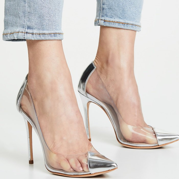 ef1288f6009 Transparent sides bring a charming glass-slipper aesthetic to a pointed  cap-toe pump from http   www.yournextshoes.com glass-slipper-aesthetic  …  lifted by ...