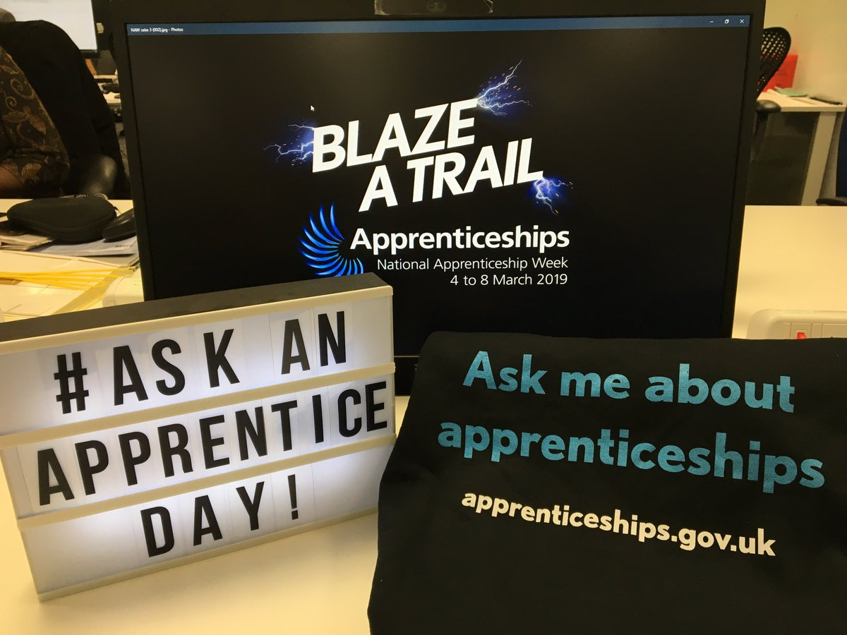 It's #askanapprentice day today! We want employers to allow their #apprentices to take over their Twitter feed to answer questions from anyone considering an #apprenticeship. APPRENTICES: help answer questions, share your experiences & inspire others 👍 #NAW2019 #BlazeATrail