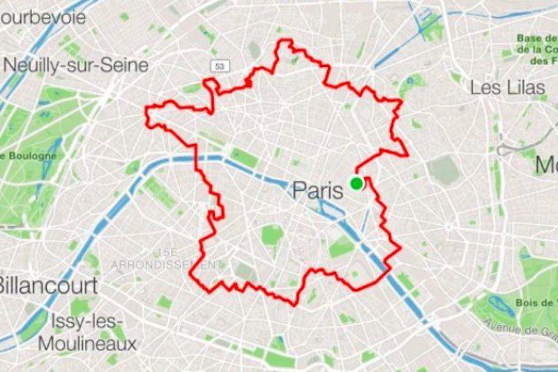 Il marche 34 kilomètres dans Paris avec son GPS pour dessiner la carte de la France - https://t.co/kHVEwsjxko