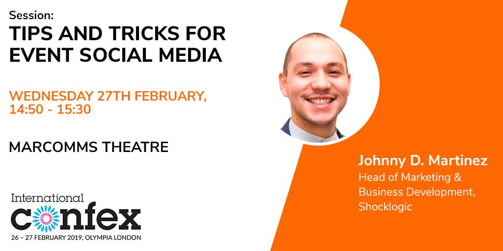 Happy Friday #eventprofs! Who is joining me at @IntlConfex next week? @Shocklogic will be at stand O4C #Confex19<br>http://pic.twitter.com/ocLF80MstX
