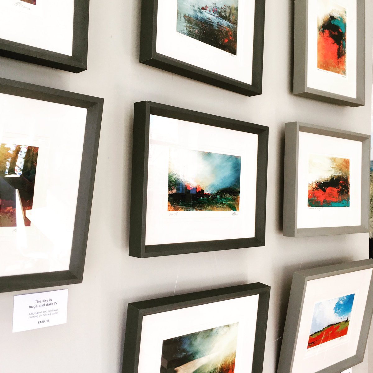 A wall full of stunning jewel colours and stormy skies - new original framed oil and cold wax work by @PaulaDunnArtist just arrived this afternoon ✨#oil #oilandcoldwax #oilandcoldwaxpainting #ownanoriginal #Saltaire