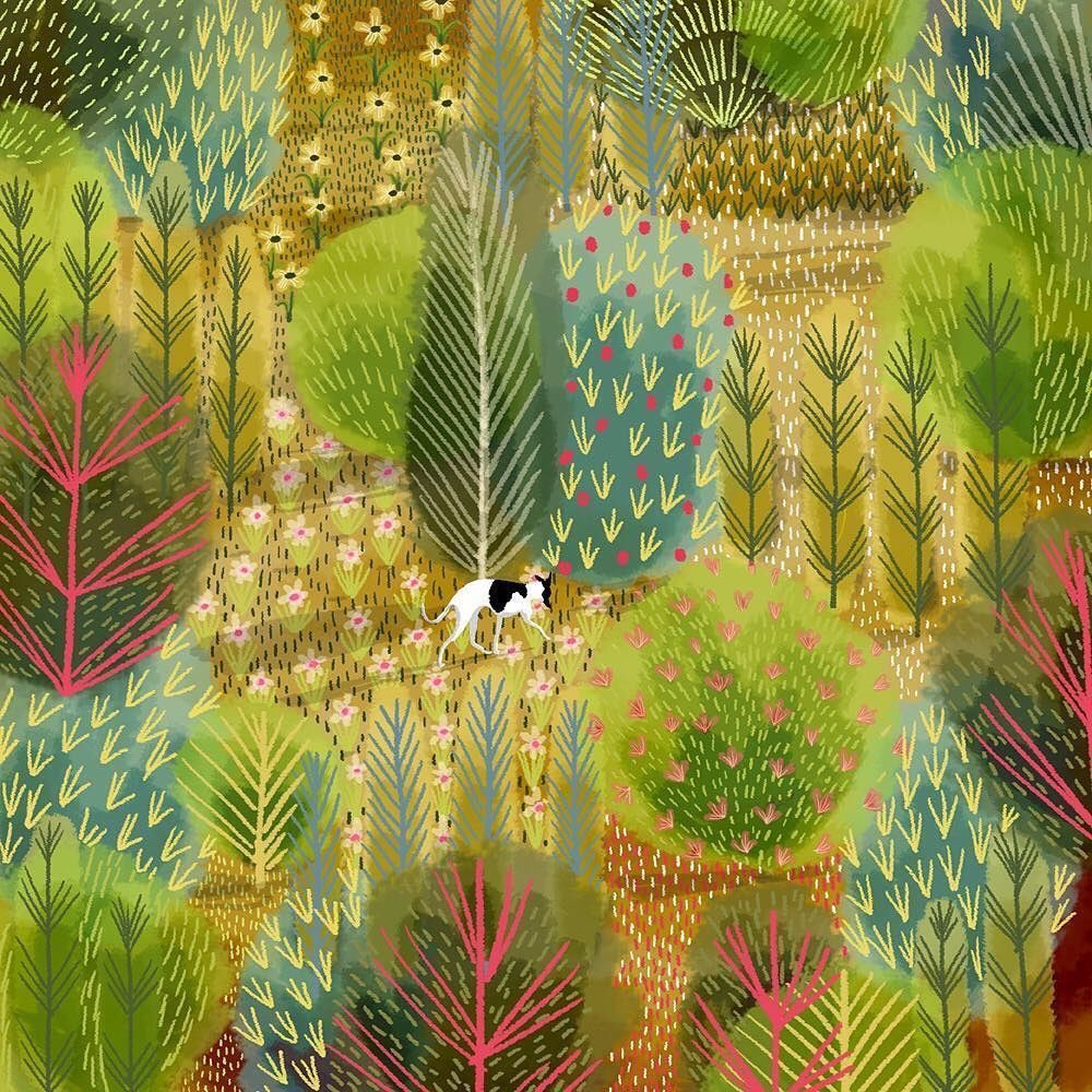 Jane Newland  is an artist whose work we all seem to like. It's the lush and vibrant greenery that I love. 'Spring Walk with the Whippet' Each bush is different... <br>http://pic.twitter.com/9T1Za7HXf4