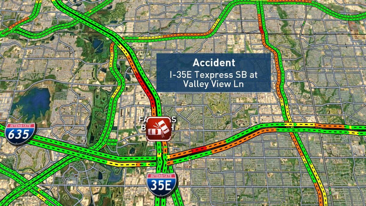 Accident in I-35E SB Texpress Lanes. #DFWTraffic @nbcdfw