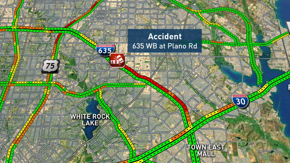 Up to an hour delay on 635. #DFWTraffic @nbcdfw