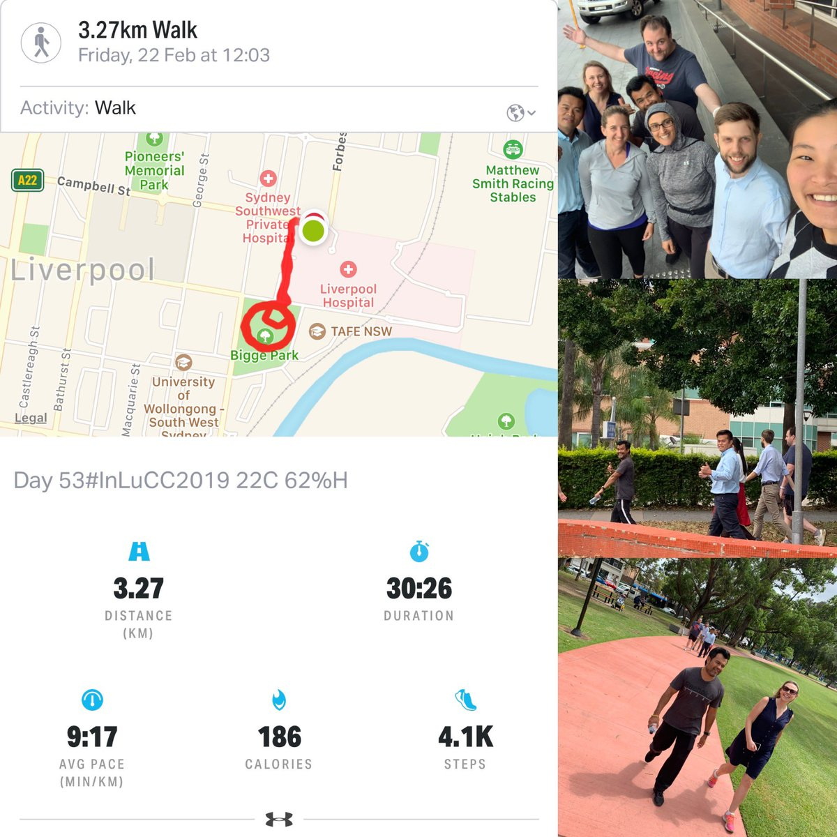 Day 53 #InLuCC2019 lunch time walk for #LungCancerAwareness with work colleagues and mates. Follow link in bio to donation page. #LungCancerResearch at the #inghaminstitute #LungCancer #IAmAndIWill  #FairGoForLungCancer #NotAllCancerIsPink<br>http://pic.twitter.com/sJOK9c4VEs