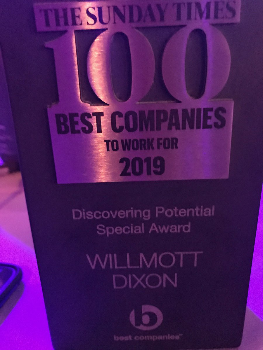 Another fantastic achievement for @WillmottDixon winning the Sunday Times Best Companies Awards for Discovering Potential #BestCompanies2019 . Congratulations Team!