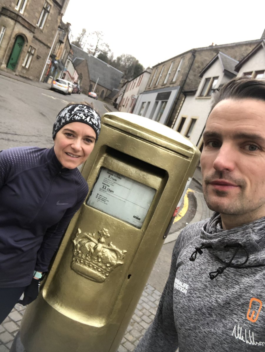 Out for a jog in Dunblane this morning.  Had to stop to get a photo next to Andy Murray's gold post box.  Scottish hero.  Happy Friday  <br>http://pic.twitter.com/PvV47hYtYW