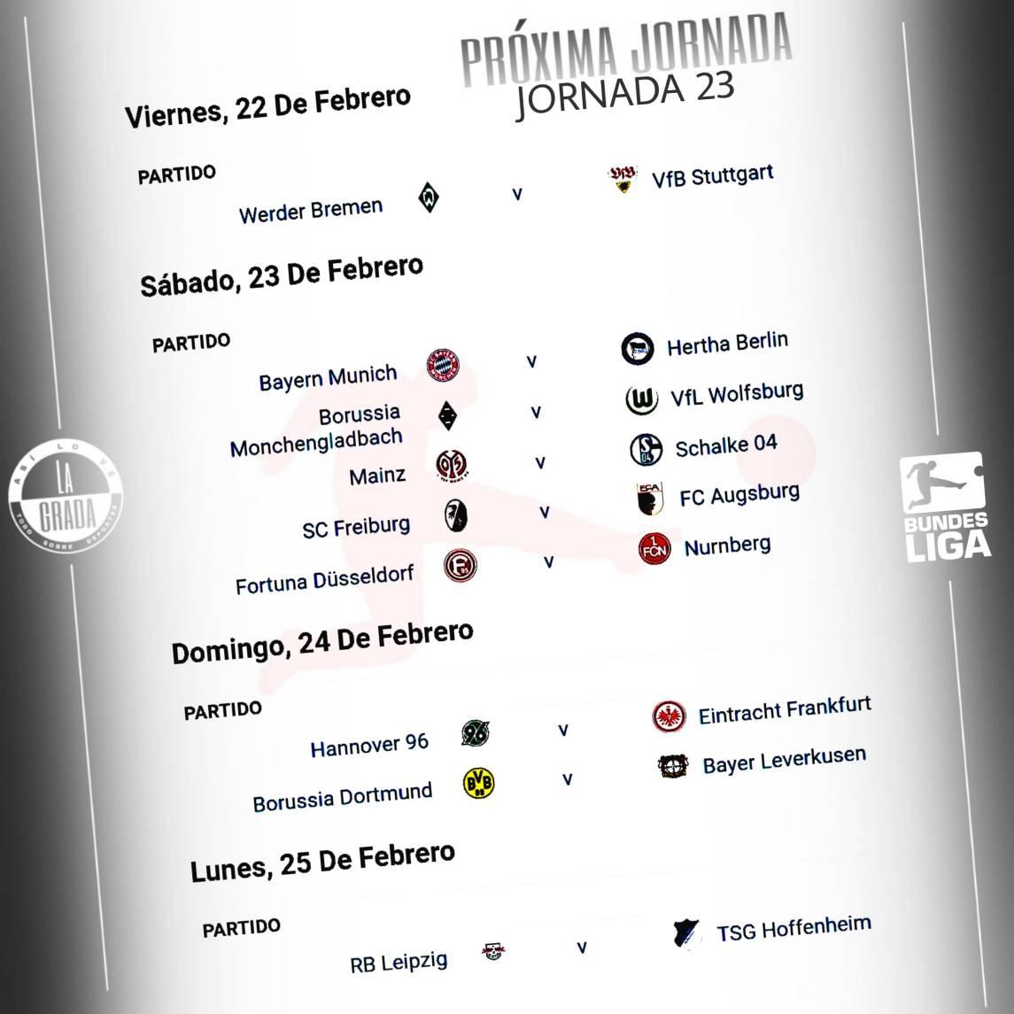 #JORNADA23 Estos son los partidos del fin de semana en la Bundesliga. Por: @asilovelagrada.  #futbol #bundesliga #borussiadortmund #bayernmunich #herthaberlin #asilovelagrada #asilovelagradafutbol #jornada23 #germany #alemania #deutschland #soccer #munich #bayernmunchen