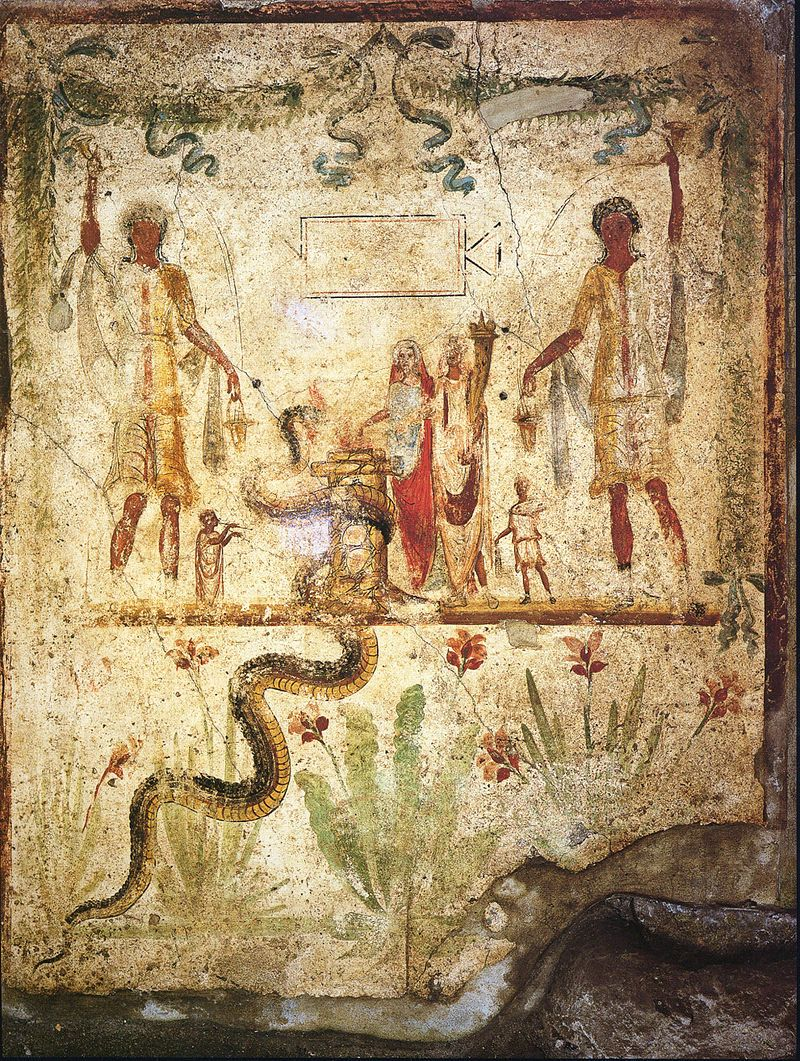 Happy Caristia - The #Romans celebrated the family line with banqueting & gifts on 22nd February. It was a day when family arguments should be set aside and love of family honoured. The fresco shows ancestral sacrifices in the lararium of the house of Julius Polybius in #Pompeii.