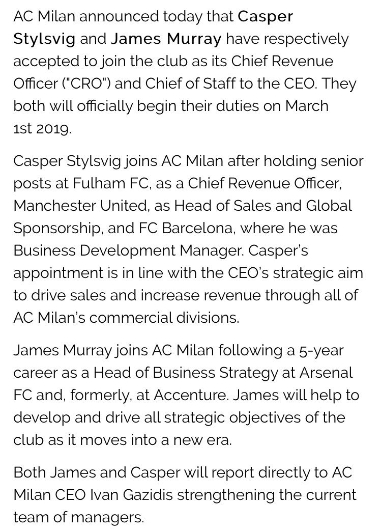 Official: Milan appoint Casper Sylsvig and James Murray as Chief Revenue Officer and Chief of Staff to the CEO <br>http://pic.twitter.com/Bf472xx9T6
