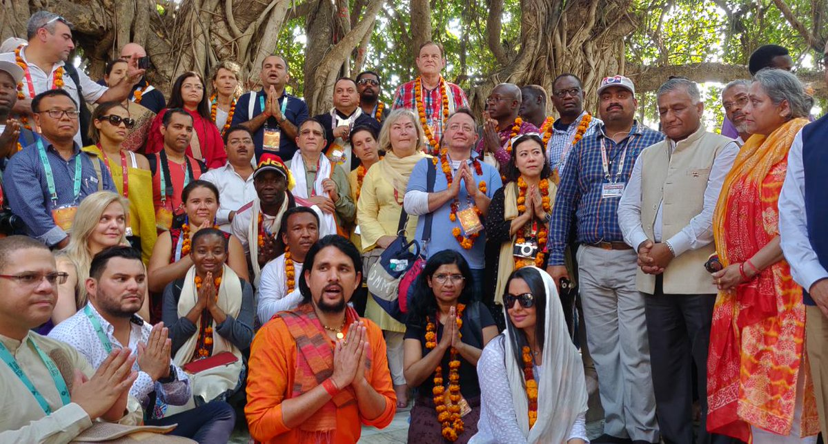 The sacred and the spiritual.   Delegates from around the globe are on a day trip to @PrayagrajKumbh to see the largest gathering of humanity! This is an @ICCR_Delhi initiative with the collaboration of @kumbhMelaPolUP & @UPGovt