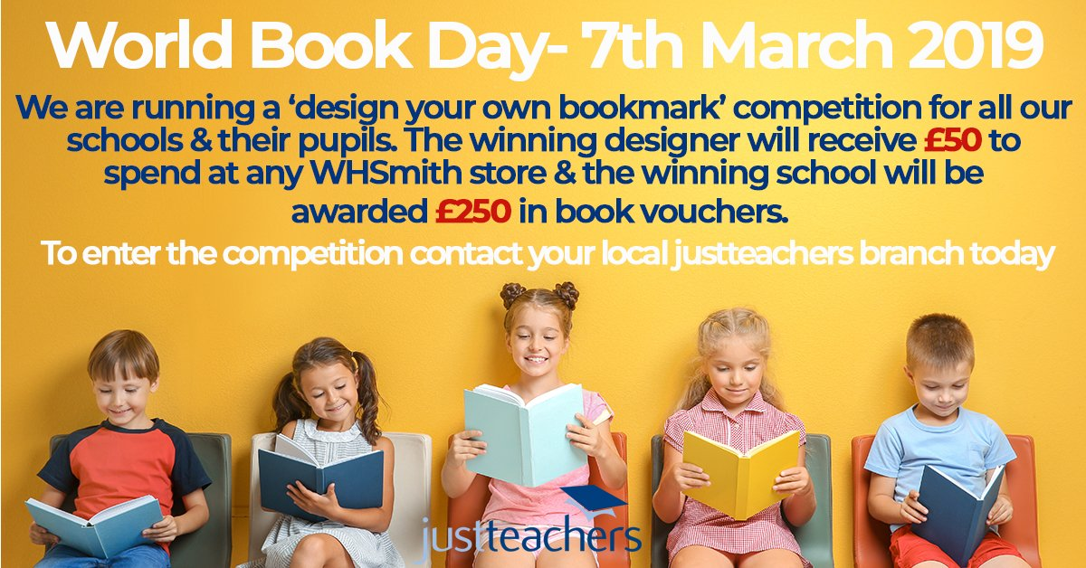 test Twitter Media - We're delighted to be supporting @WorldBookDayUK on 7th March. We're offering our schools & their pupils the opportunity to enter a 'design your own bookmark' competition! For more info contact your local justteachers team today: https://t.co/dVNCKSrKuv https://t.co/TX0xRITRL5