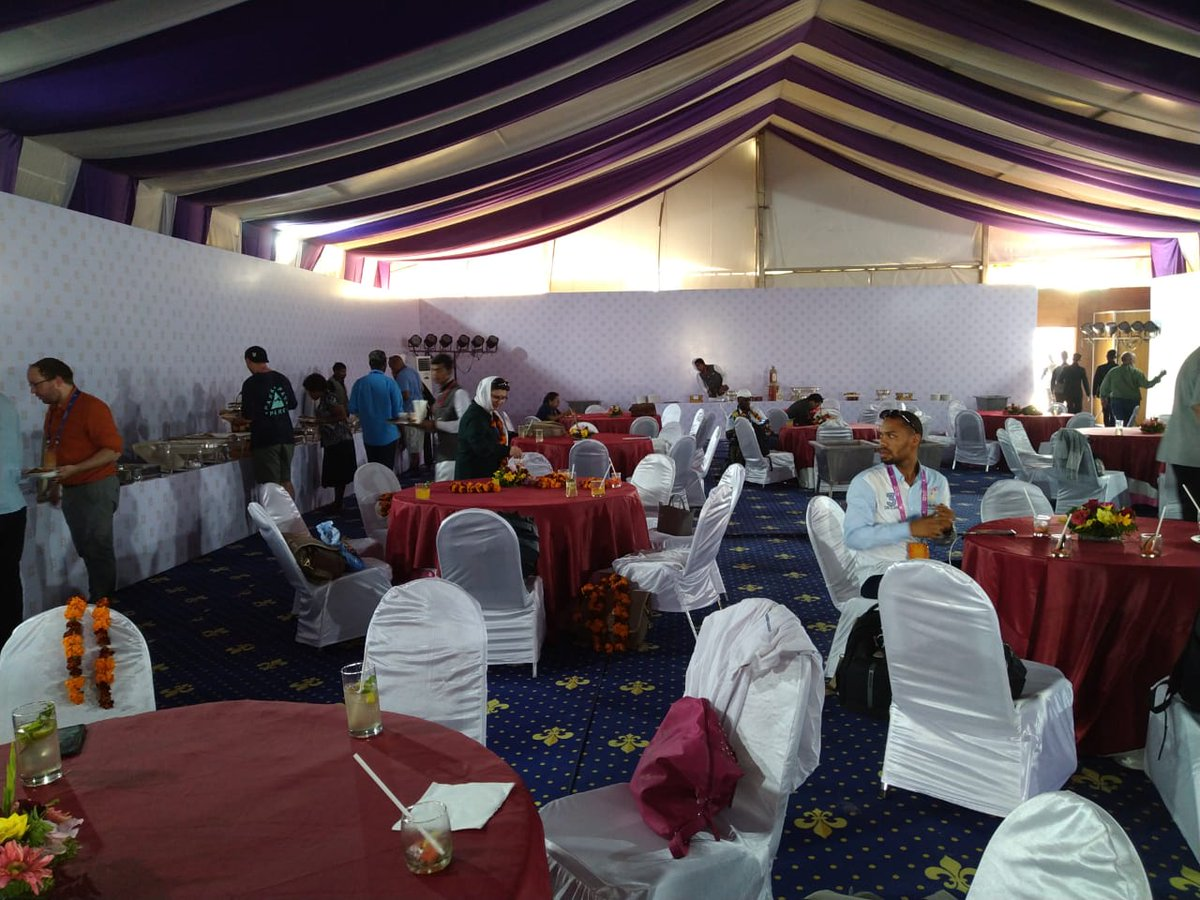 The best conversations happen over food!Our delegates appreciating and enjoying authentic Indian cuisine. Lunch in progress!@PrayagrajKumbh #Kumbh2019