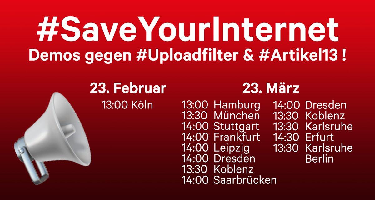 ++ Aktualisiert ++ Demos gegen #Uploadfilter & #Artikel13!   📢 Demos: http://savetheinternet.info/demos ✍️ Petition: http://change.org/savetheinternet-de… 👍 Weitersagen & folgen für alle Infos!  #SaveTheInternet #SaveYourInternet #Artikel13Demo #NieMehrCDU #Merkelfilter