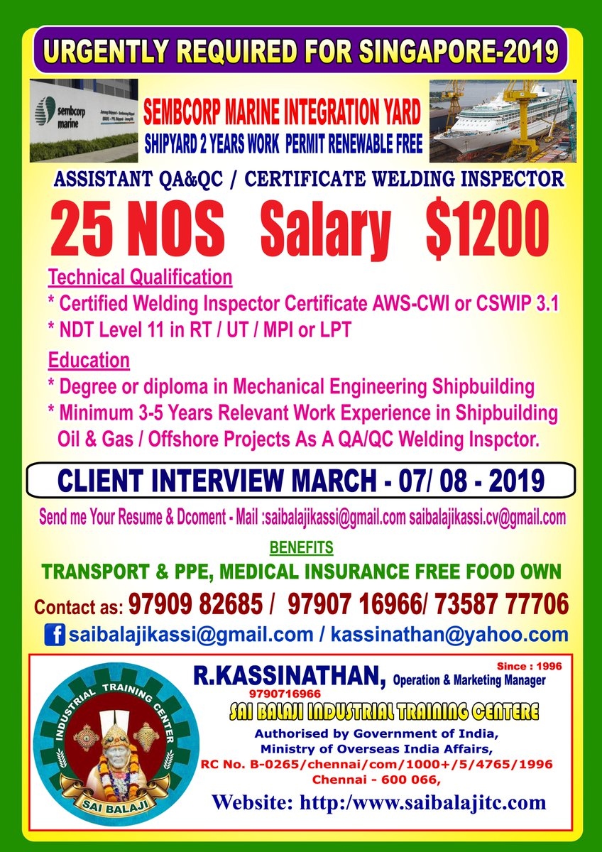 Welding inspector salary in singapore